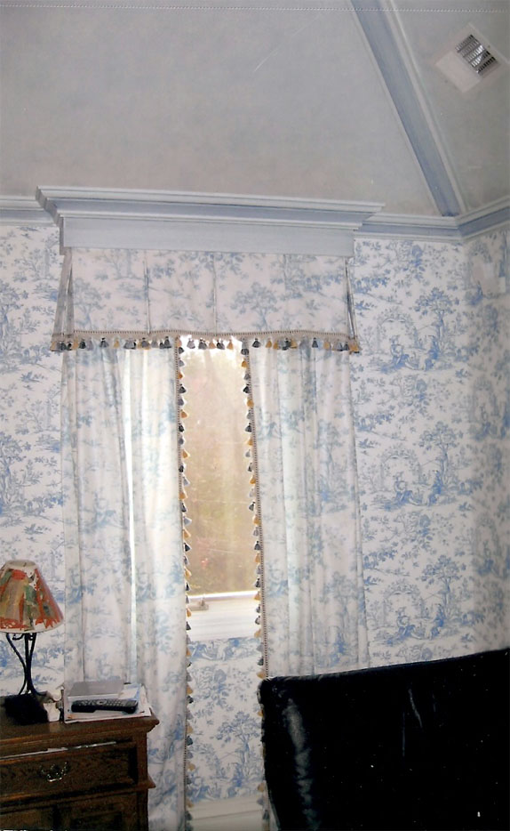 Customized draperies and wallpapering